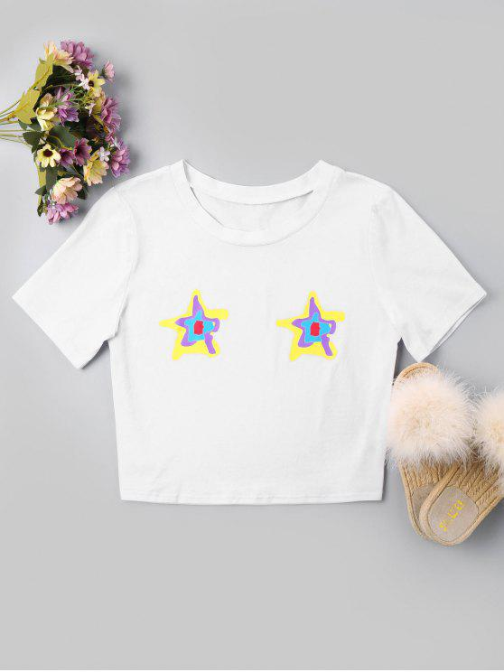 trendy Star Print Crop Tee - WHITE XL