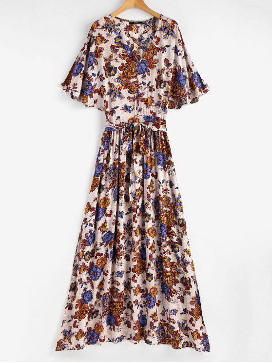 fashion Split Sleeve Floral Print Maxi Tea Dress - MULTI S