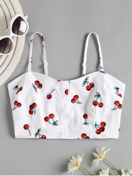 unique Cherry Print Smocked Crop Cami Top - WHITE S