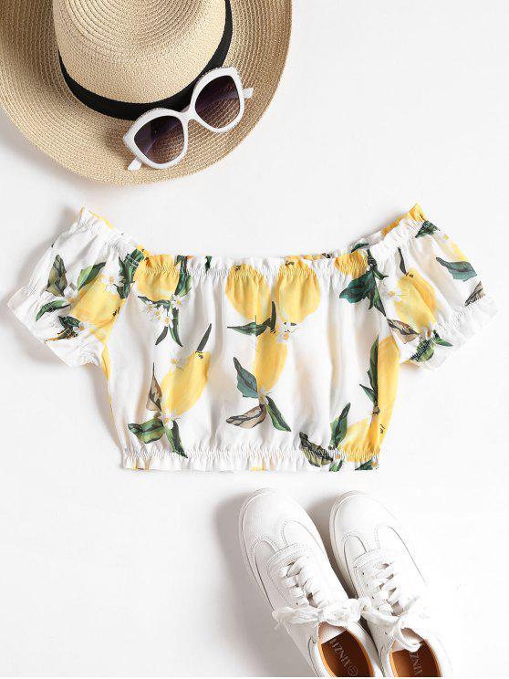 fashion Off The Shoulder Lemon Crop Top - WHITE M