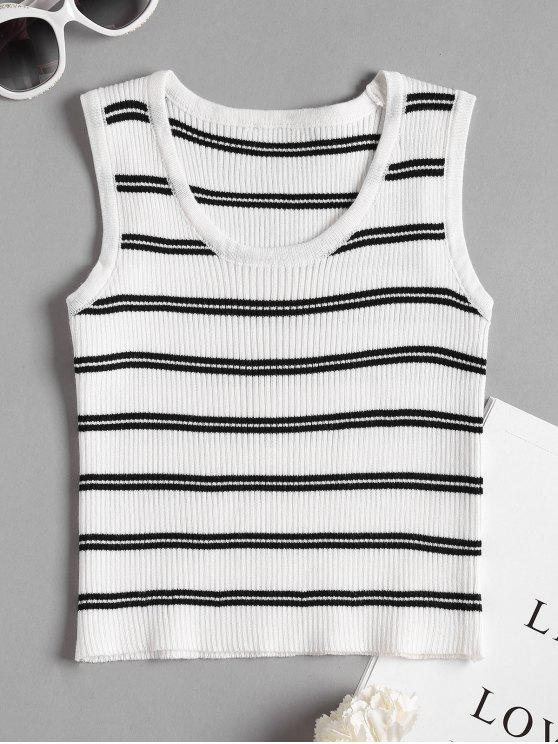 71c7d0fd97782 affordable Striped Knit Cropped Tank Top - WHITE ONE SIZE