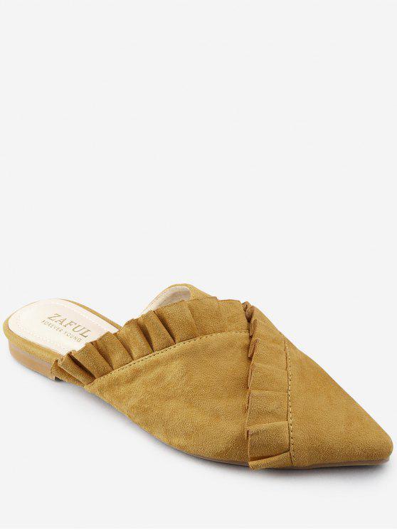 shop Pointed Toe Flat Heel Ruffles Asymmetric Mules Shoes - BEE YELLOW 39