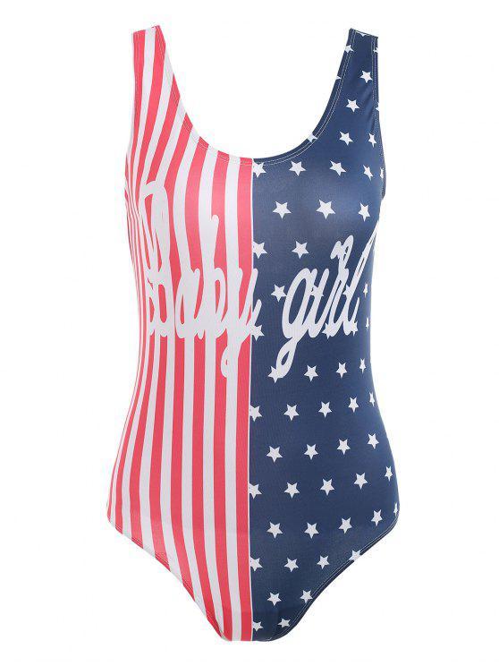 Amerikanischen Flagge Patriotische Schaufel Bodysuit - Multi M