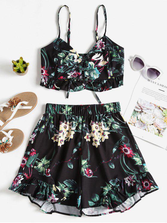 Floral Lace Up Top Shorts Conjunto De Duas Peças - Preto S