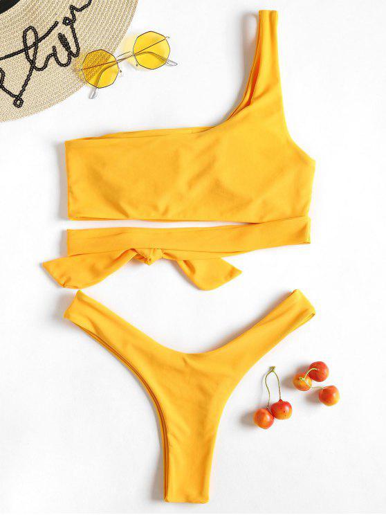 Amarillo De Un Tanga Conjunto S Ducky De Hombro Bikini Caucho Solo PwO8n0kX