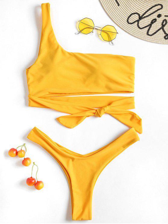 Conjunto de bikini con tanga de un solo hombro - Caucho Ducky Amarillo L