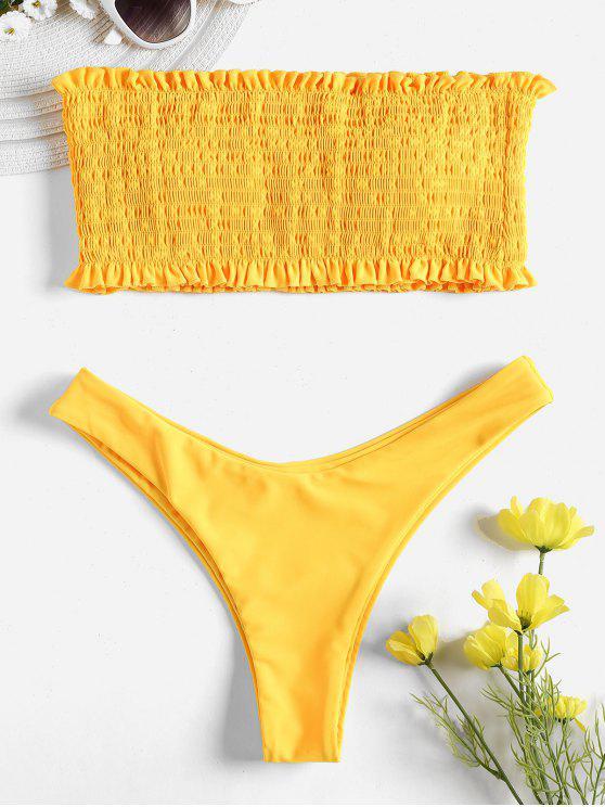 best Smocked Bandeau Bikini Set - RUBBER DUCKY YELLOW S