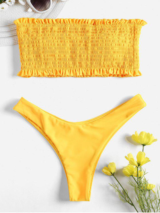 online Smocked Bandeau Bikini Set - RUBBER DUCKY YELLOW M