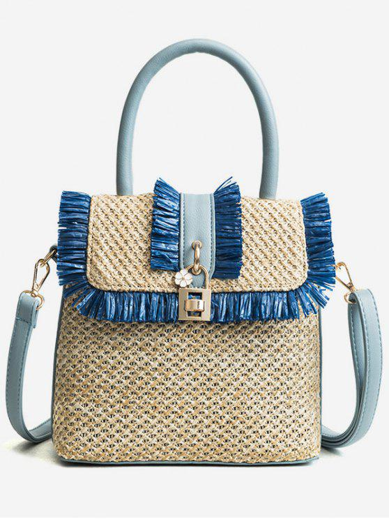 shop Flapped Tassels Straw Chic Handbag with Strap - BLUE