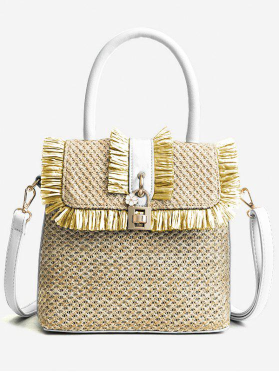 shops Flapped Tassels Straw Chic Handbag with Strap - WHITE