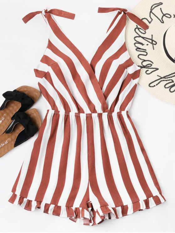 ladies Striped Ruffle Hem Romper - CHERRY RED S