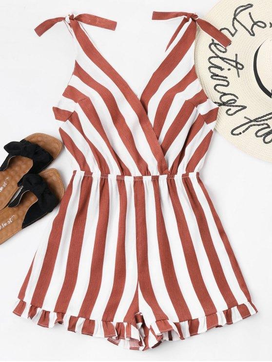 best Striped Ruffle Hem Romper - CHERRY RED L
