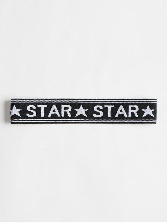 Star Graphic Elastic Workout Athletic Diadema - Negro Única Talla