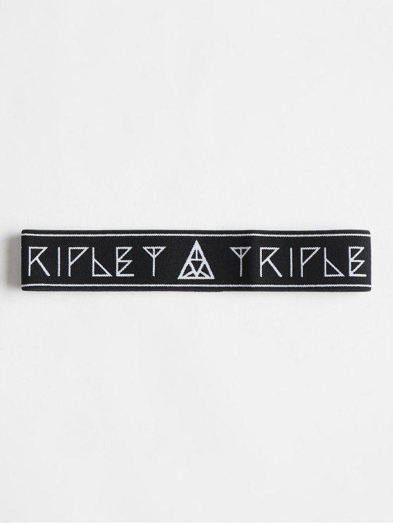 Bandeau de Sport Élastique Motif Graphique - Noir Taille Unique