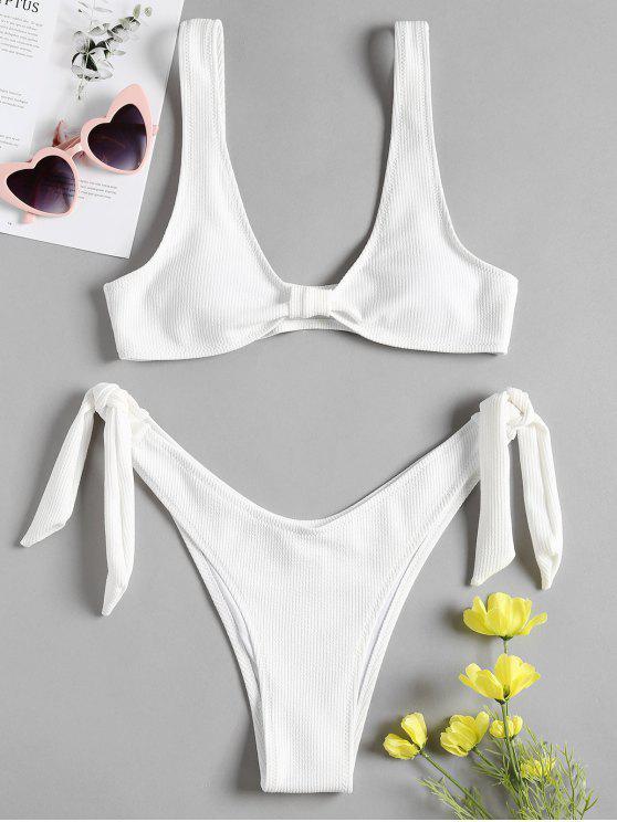 Gerippter Riemchen Seitlicher Hohes Bein Bikini Set - Weiß S