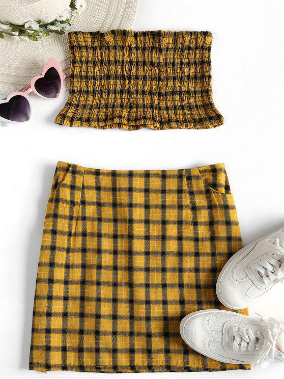 lady Tartan Smocked Bandeau Top Skirt Matching Set - GOLDEN BROWN L