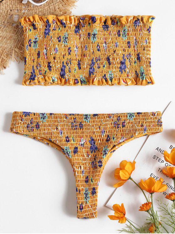 fashion Floral Smocked Thong Bikini Set - BRIGHT YELLOW S
