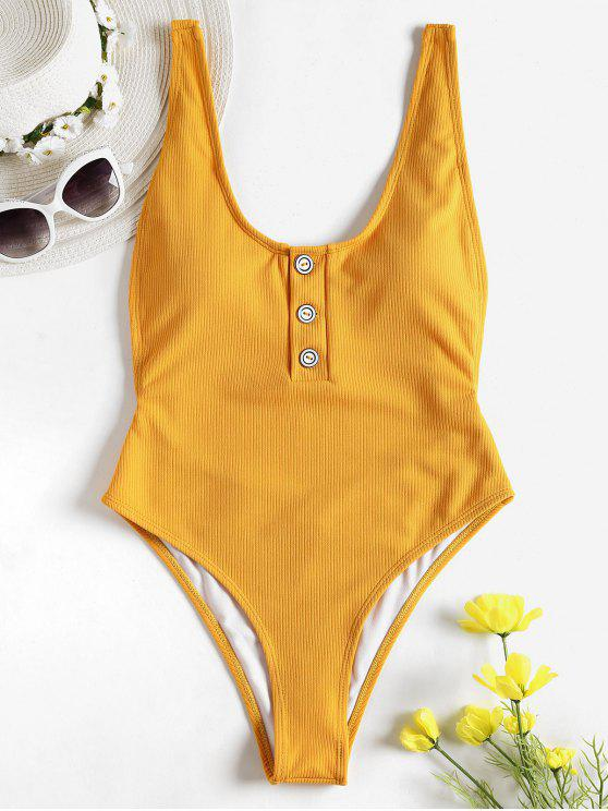 fashion One-piece Ribbed Buttons High Cut Swimsuit - GOLDEN BROWN S