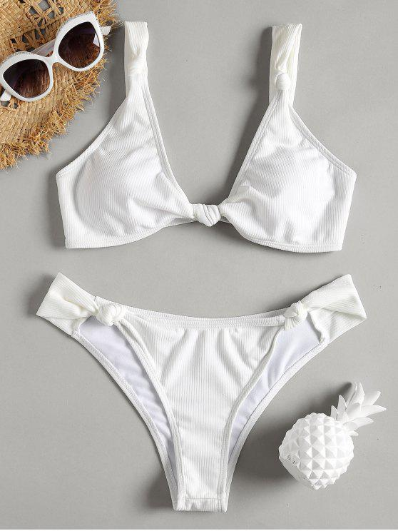 womens Knot Ribbed Bikini Set - MILK WHITE S