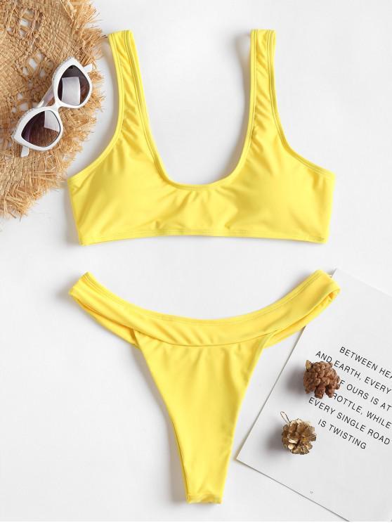 Hohe Schlitz Tank Bikini Set - Gelb L