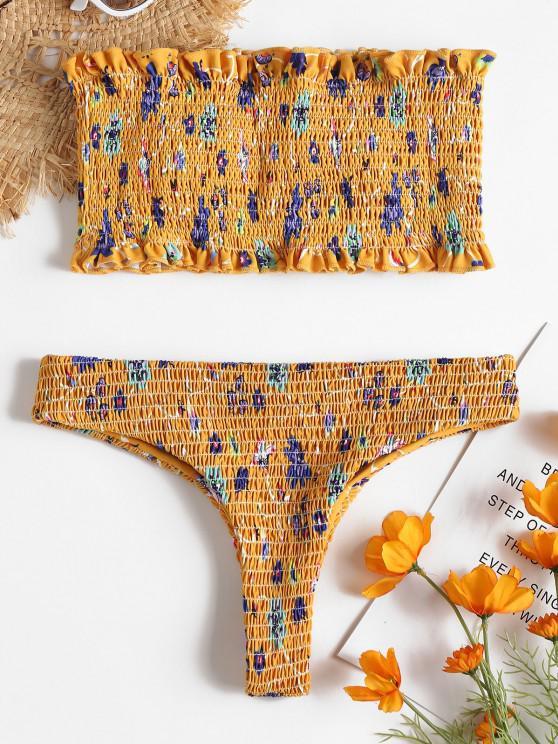 Conjunto de bikini de tanga deshilachado floral - Amarillo Brillante L