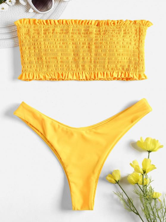 Smoked Bandeau Bikini Set - المطاط الحبيب الأصفر L