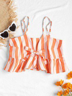 Tie Front Stripes Tank Top - Dark Orange S