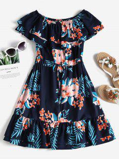 Off The Shoulder Floral Dress - Deep Blue M