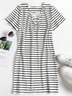 Striped Lace Up Tee Dress - Multi L
