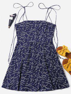 Mini Vestido Estampado Atado Con Cordones - Azul Profundo Xl