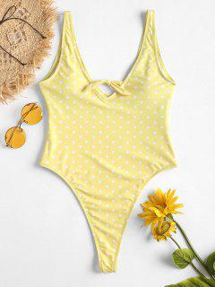 Heart Print Thong Swimsuit - Yellow S