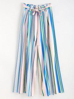 Paperbag Striped Side Split Palazzo Pants - Multi L