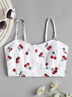 Cherry Print Smocked Crop Cami Top - White M
