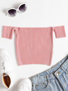 Geripptes Strick Schulterfreies Crop Top - Rose