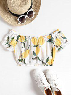 Off The Shoulder Citron Crop Top - Blanc M