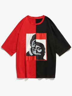 Figure Patch Color Block Tee - Red S