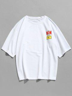 Camiseta De Manga Corta Con Parche De Letras - Blanco 2xl