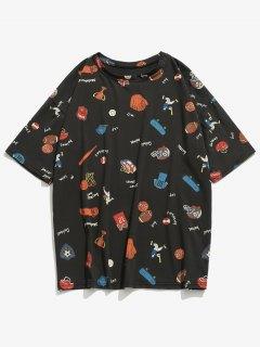 Sport Equipment Print Tee Shirt - Black S
