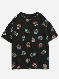Casual Helmet Victory Print T-shirt - Black M