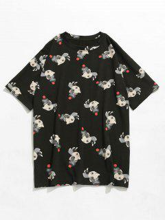 Cartoon Print Kurzarm T-Shirt - Schwarz L