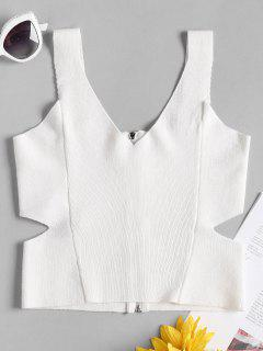 Zipper Cut Out Crop Knit Tank Top - White