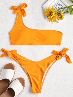 Conjunto De Bikini De Un Solo Hombro Con Un Lazo - Amarillo Brillante S