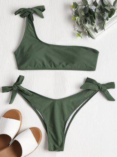 Selbst Riemchen Ein Schulter Bikini-Set - Dunkles Meergrün M