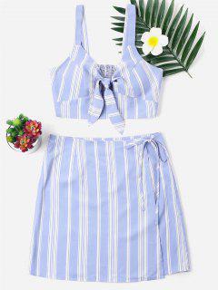 Vestido Anudado A Rayas De Dos Piezas - Azul Claro S