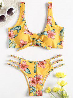 Bikini Floral Traissé Avec Devant Noué  - Jaune S