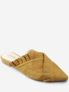 Pointed Toe Flat Heel Ruffles Asymmetric Mules Shoes - Bee Yellow 37