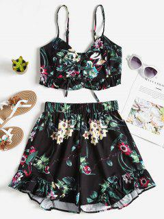 Floral Lace Up Top Shorts Two Piece Set - Black L