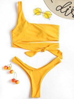 Eine Schulter Selbst Riemchen Tanga Bikini Set - Niedliches Gummi Gelb M
