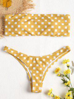 Geometrischer Druck Bandeau Bikini Set - Goldrute S