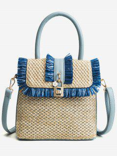 Flapped Tassels Straw Chic Handbag With Strap - Blue